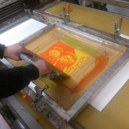 Printing the first colour onto the paper